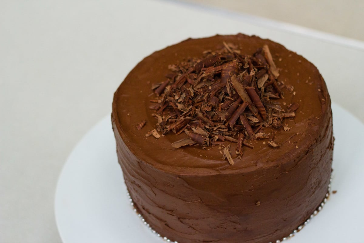 Top down view of cake with  chocolate shavings on top