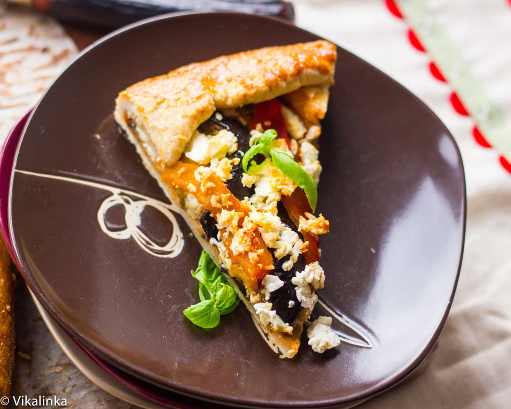 Eggplant, Red and Yellow Pepper Galette