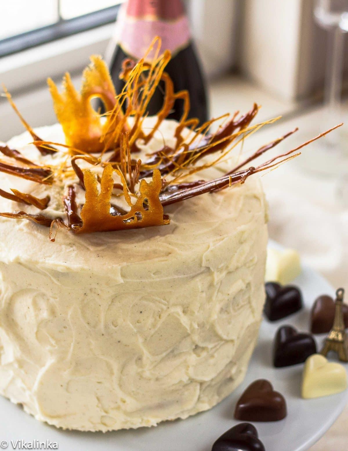"""Honey and Mascarpone Cream Cake """"Medovik"""" with Caramel Flames"""