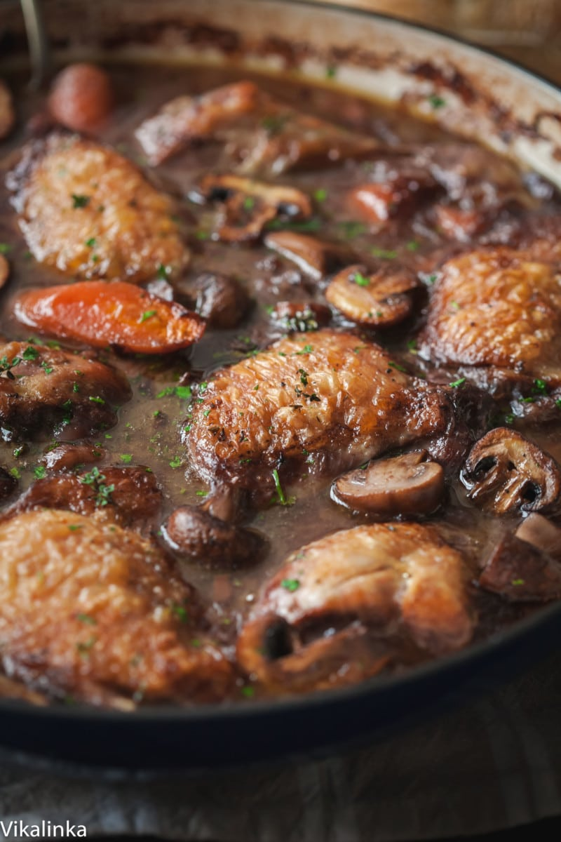 side shot of chicken coq au vin