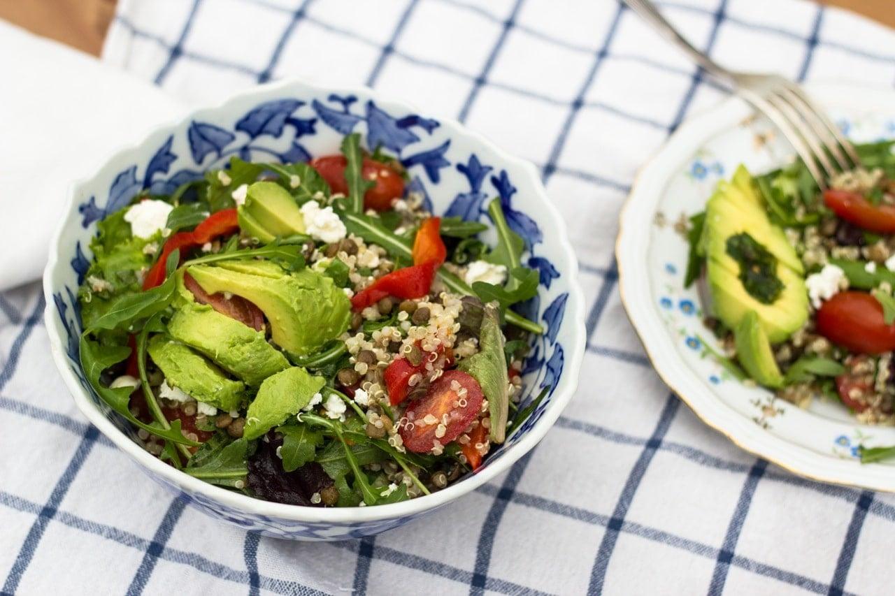 Quinoa and Puy Lentil Salad with Lime Cilantro Vinegrette