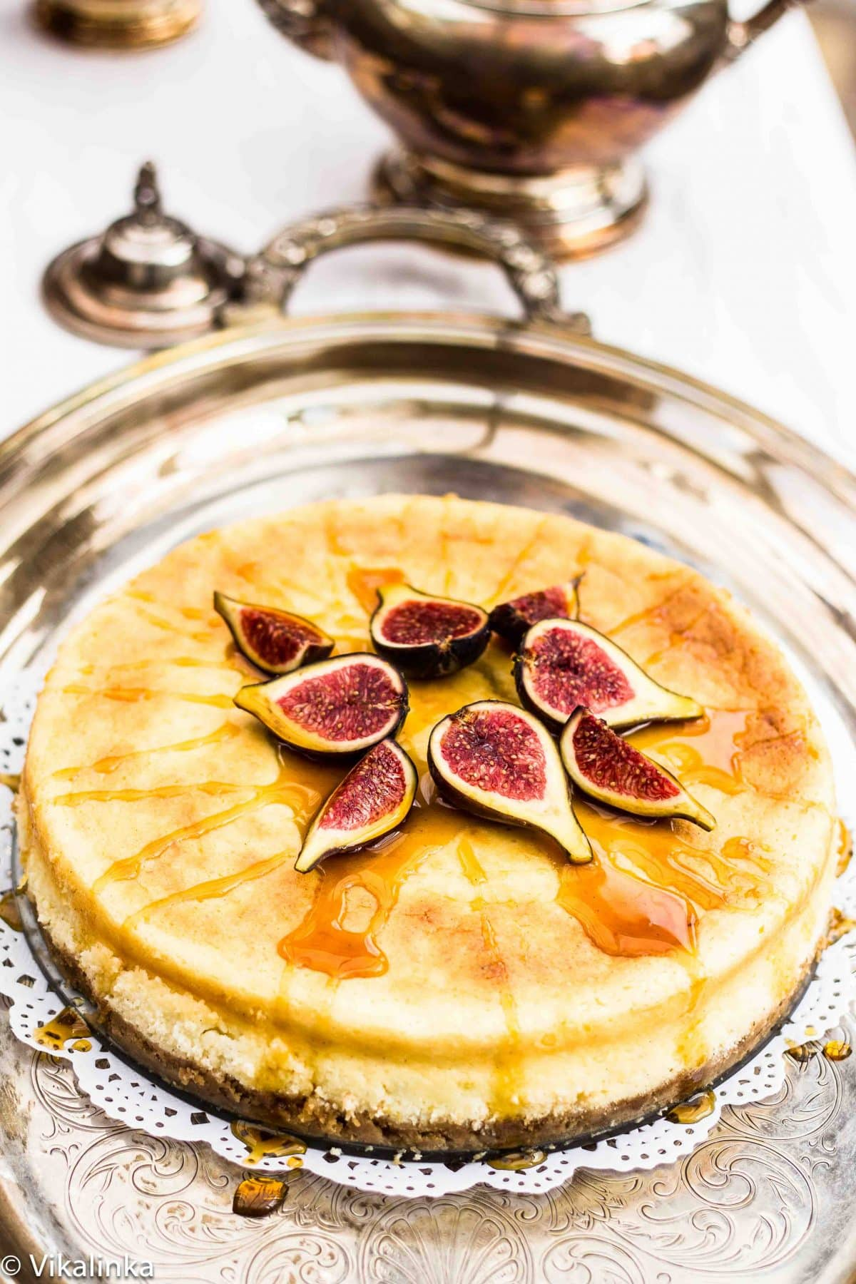Lemon Vanilla Cheesecake with Figs and Honey