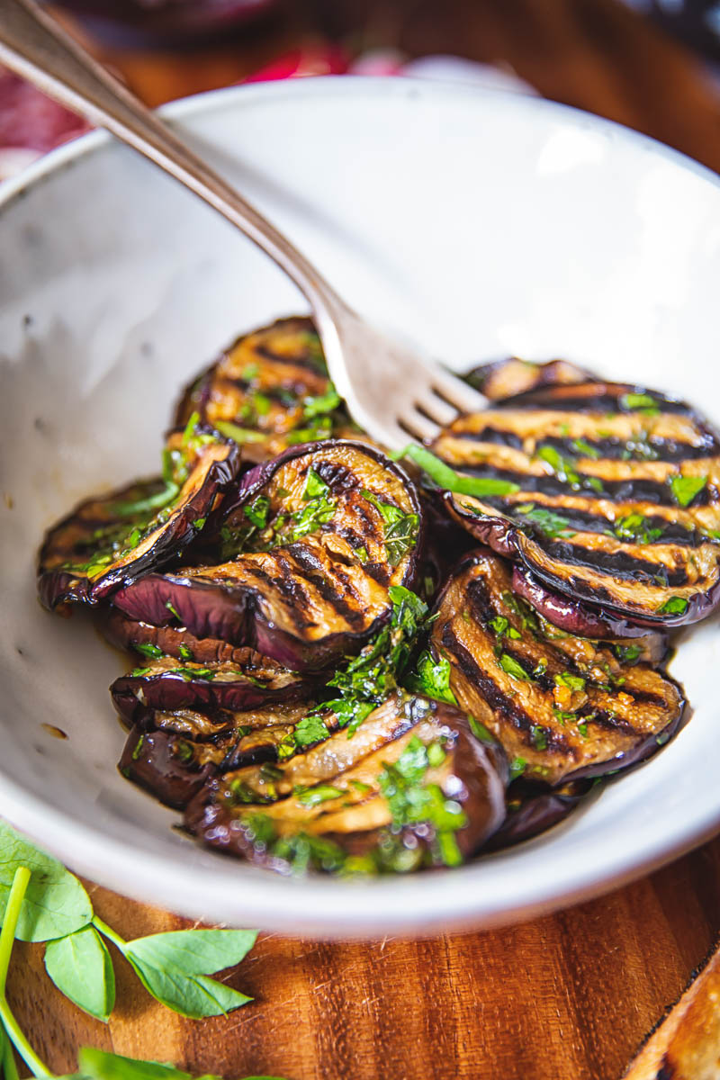 Balsamic Grilled Eggplant with Mint