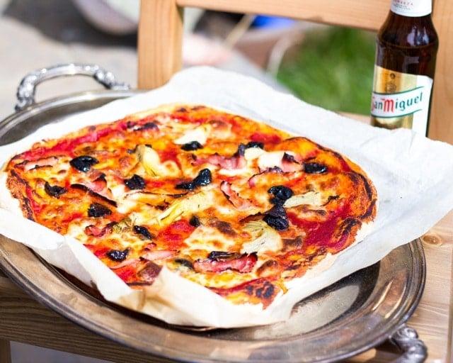 Ham, Artichoke and Moroccan Black Olive Pizza