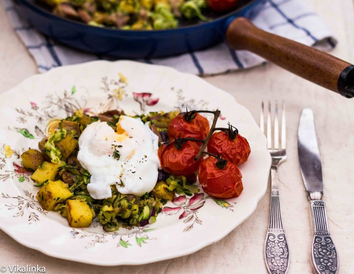 Zucchini Hash with Poached Egg and Grilled Tomatoes