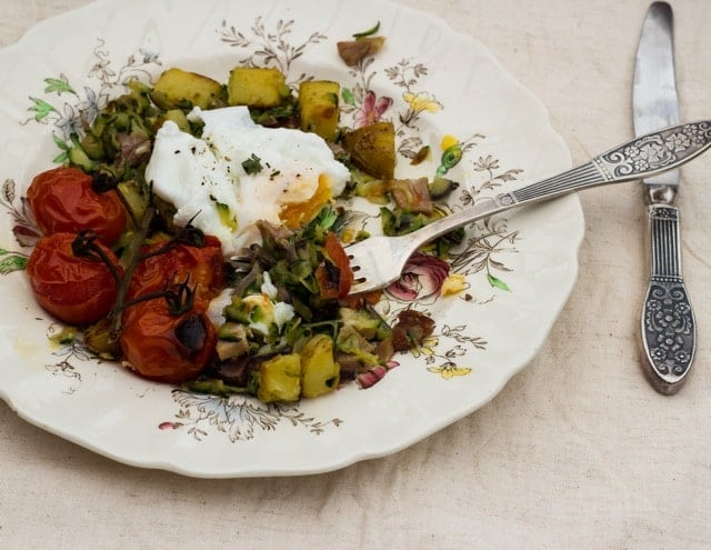 Zucchini and Ham Hash with Grilled Tomatoes