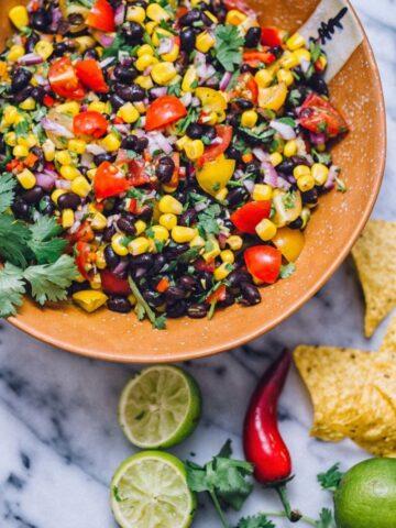 Black Bean, Corn and Tomato Salsa in Brown Bowl