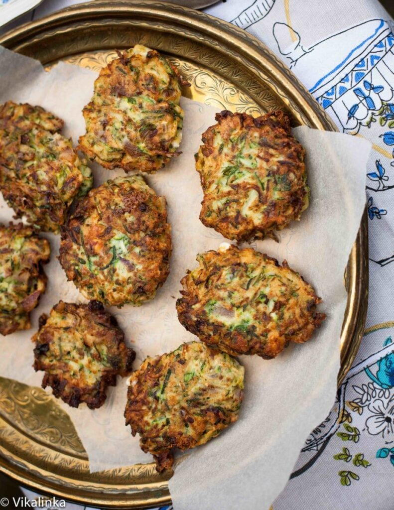 Feta and Zucchini Fritters with Garlic Yoghurt Sauce