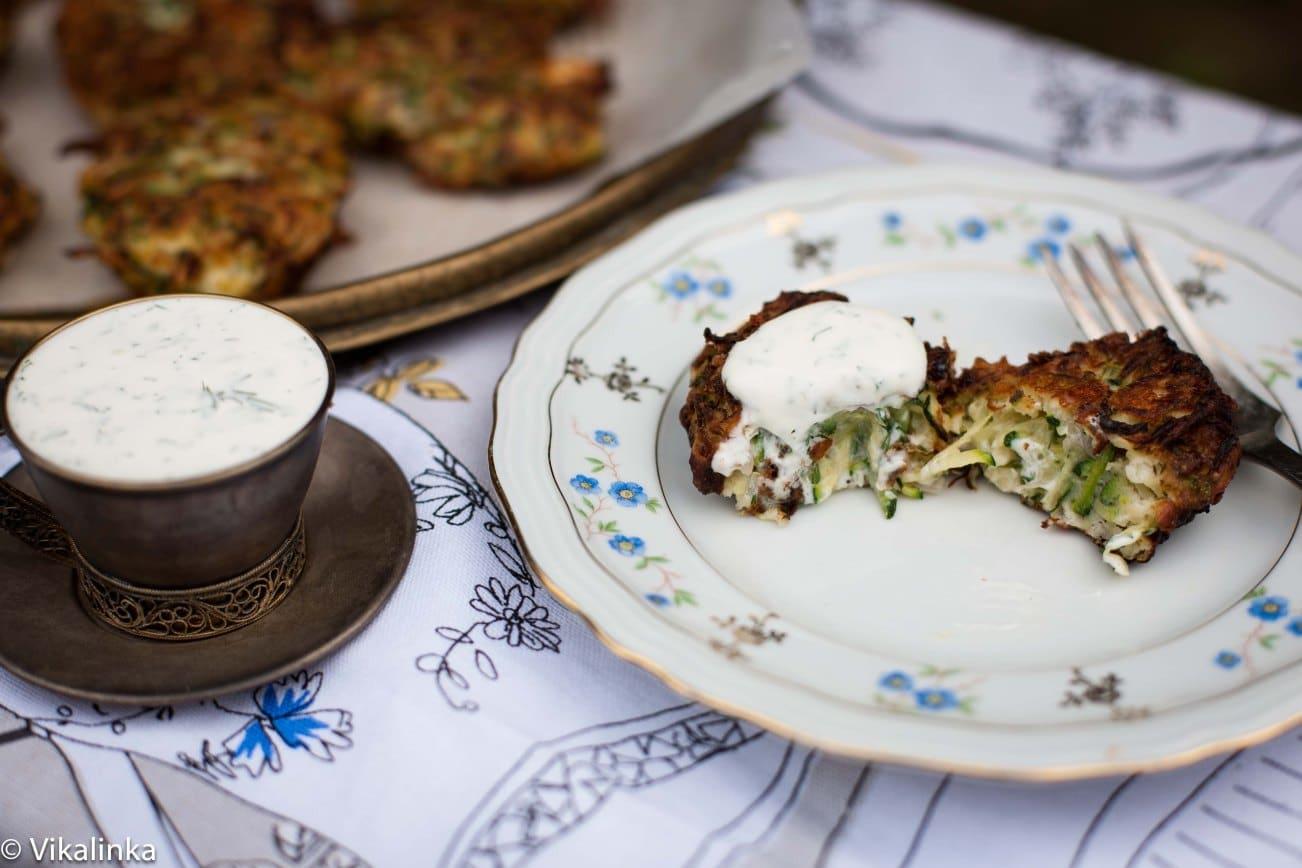 Feta and Zucchini Fritters with Garlic Yogurt Sauce