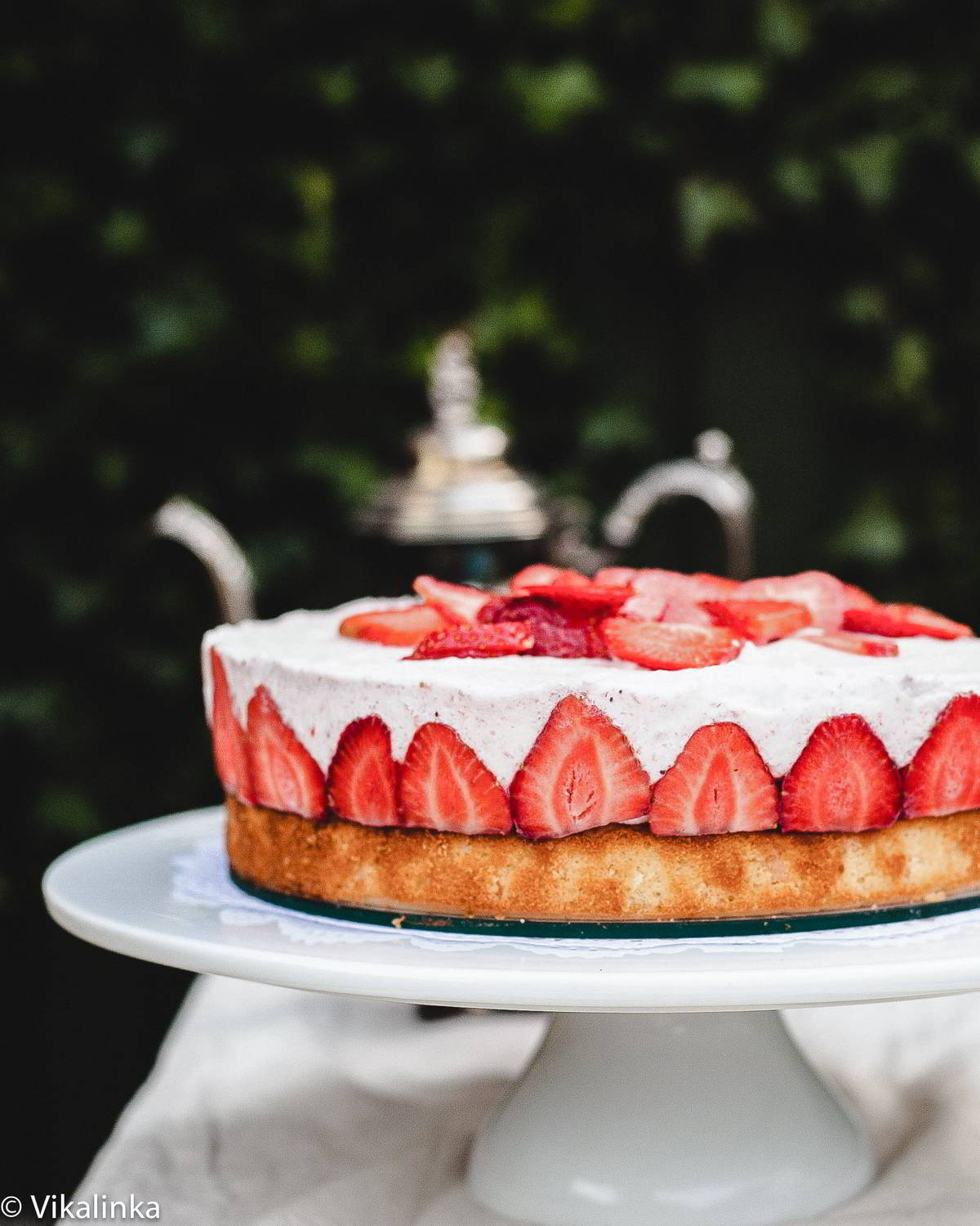 This cake is an expression of summer with its silky strawberry mousse that sits on top of a vanilla sponge.