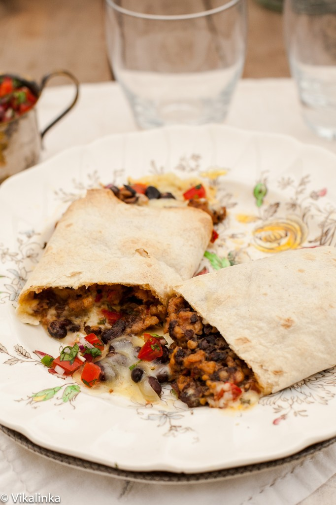 Sausage and Black Bean Burritos