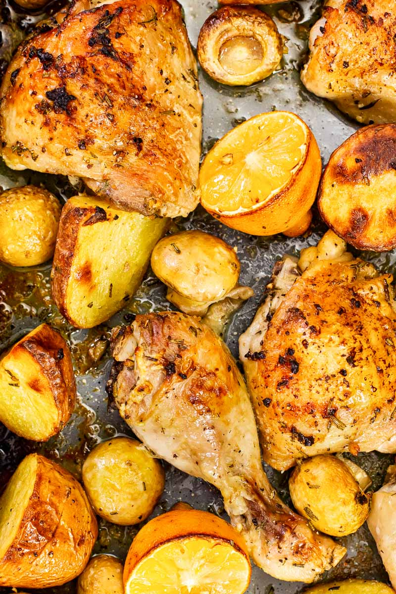 roasted chicken and potatoes with mushrooms