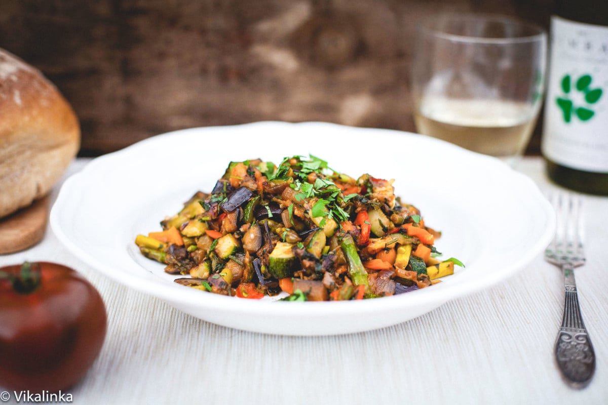 French ratatouille in a white bowl