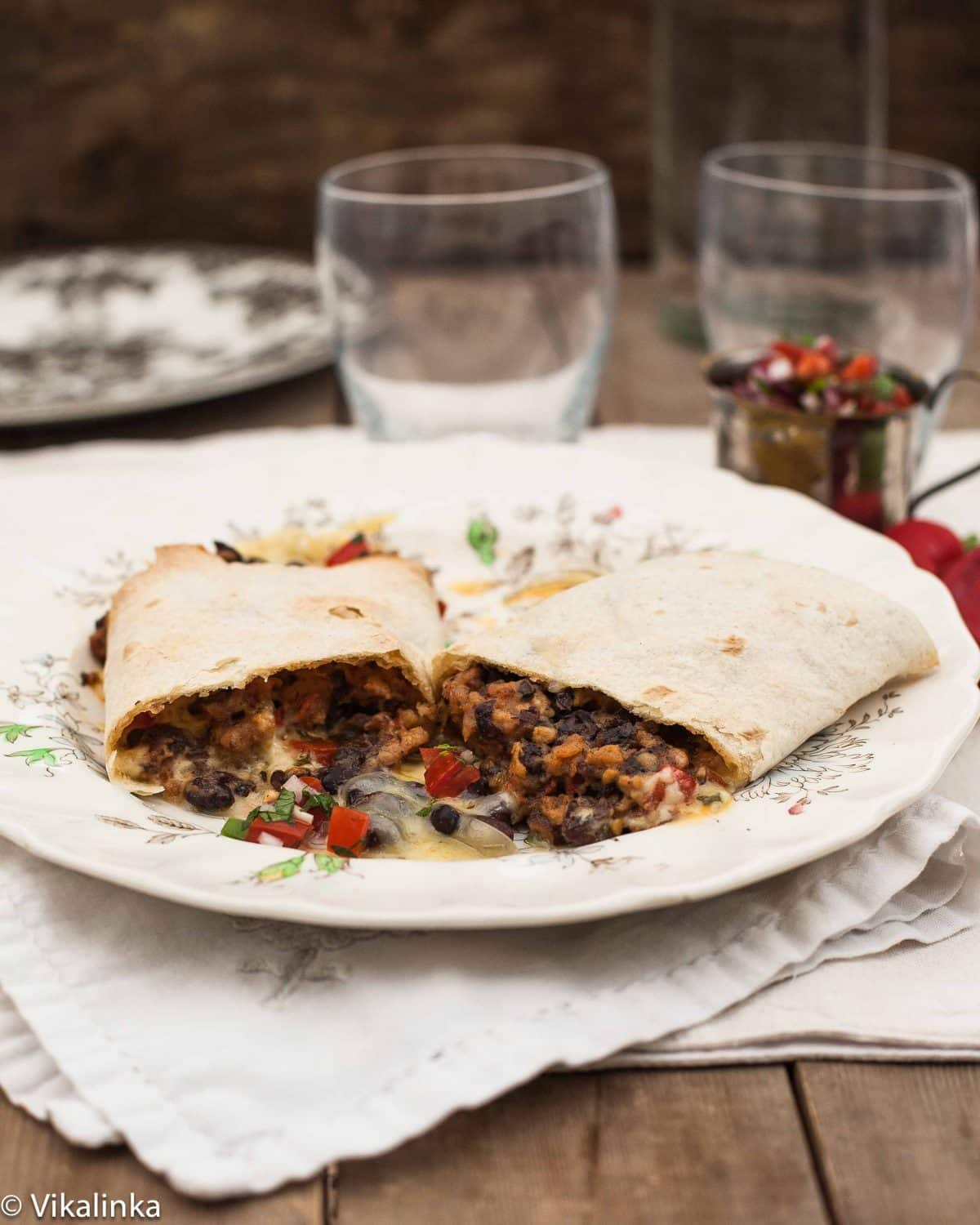 Sweet Chilli Sausage and Black Bean Burritos