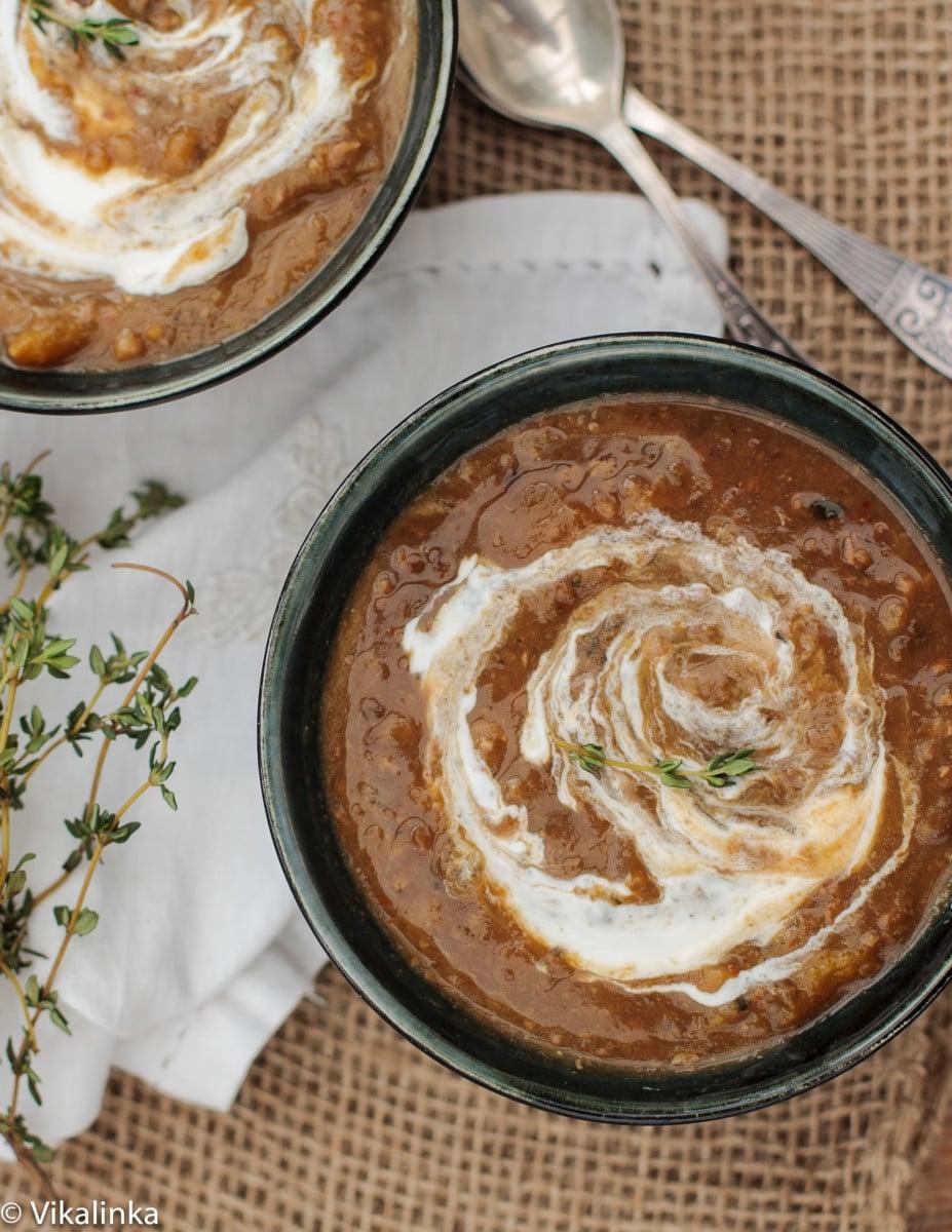 Chestnut soup in black bowl