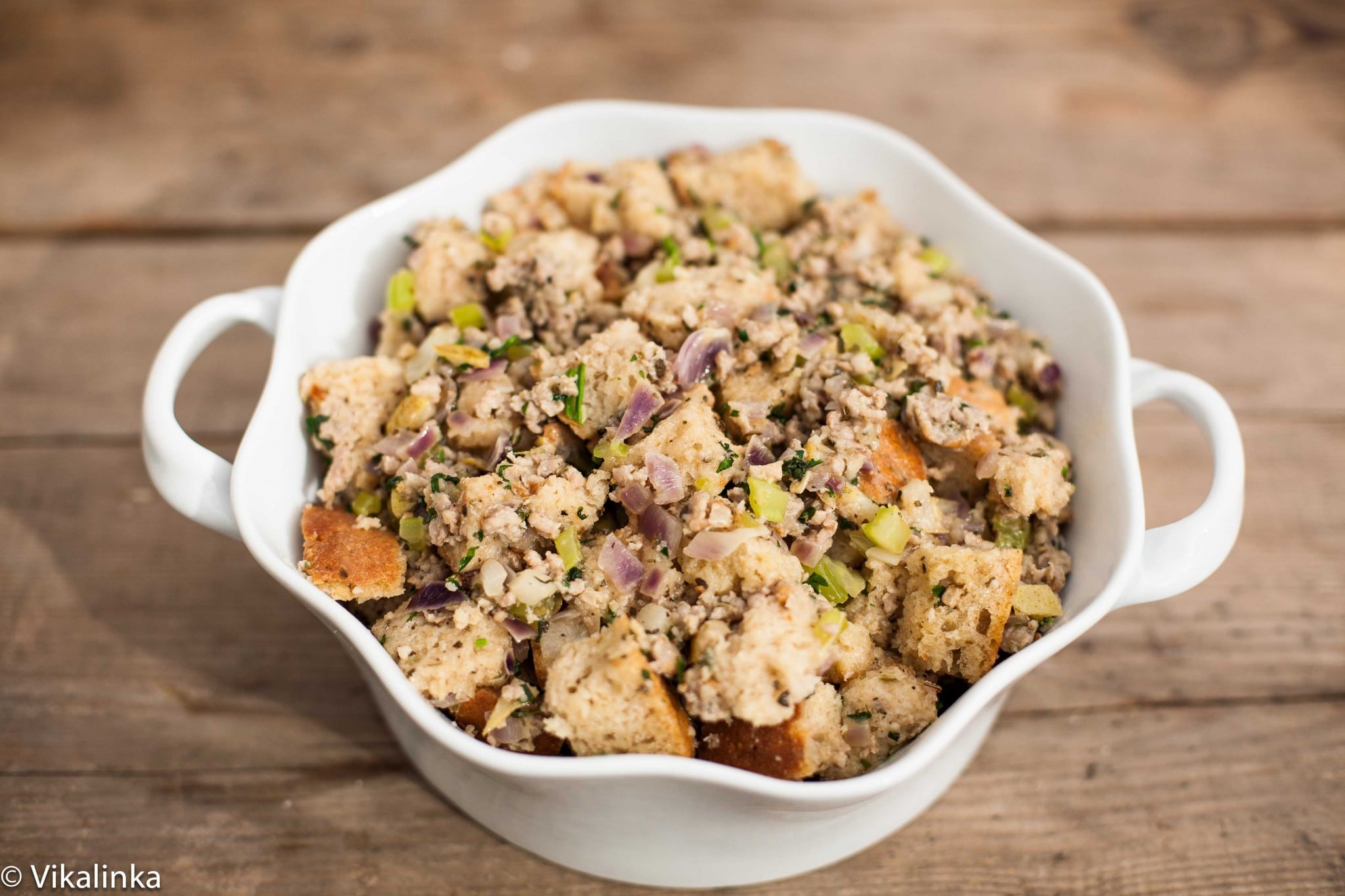Sausage, Pear and Sage Stuffing (process image)