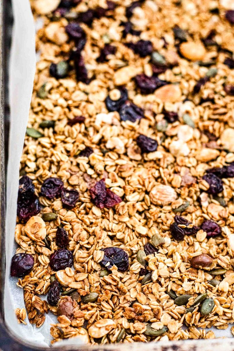 close up of black forest granola in pan