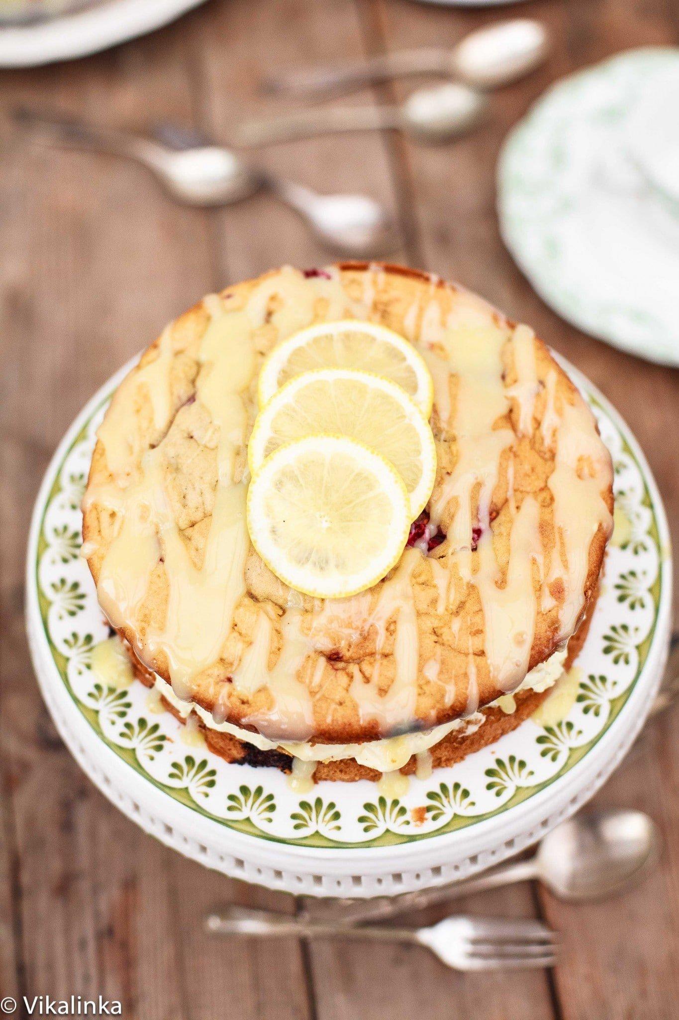Raspberry Limoncello Cake with Mascarpone Frosting