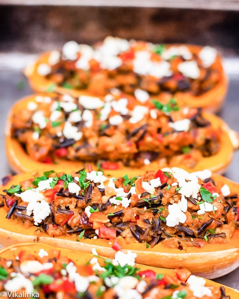 multiple stuffed squashes with turkey and wild rice