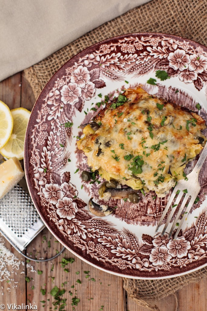 Crab, Leek and Mushroom Lasagna