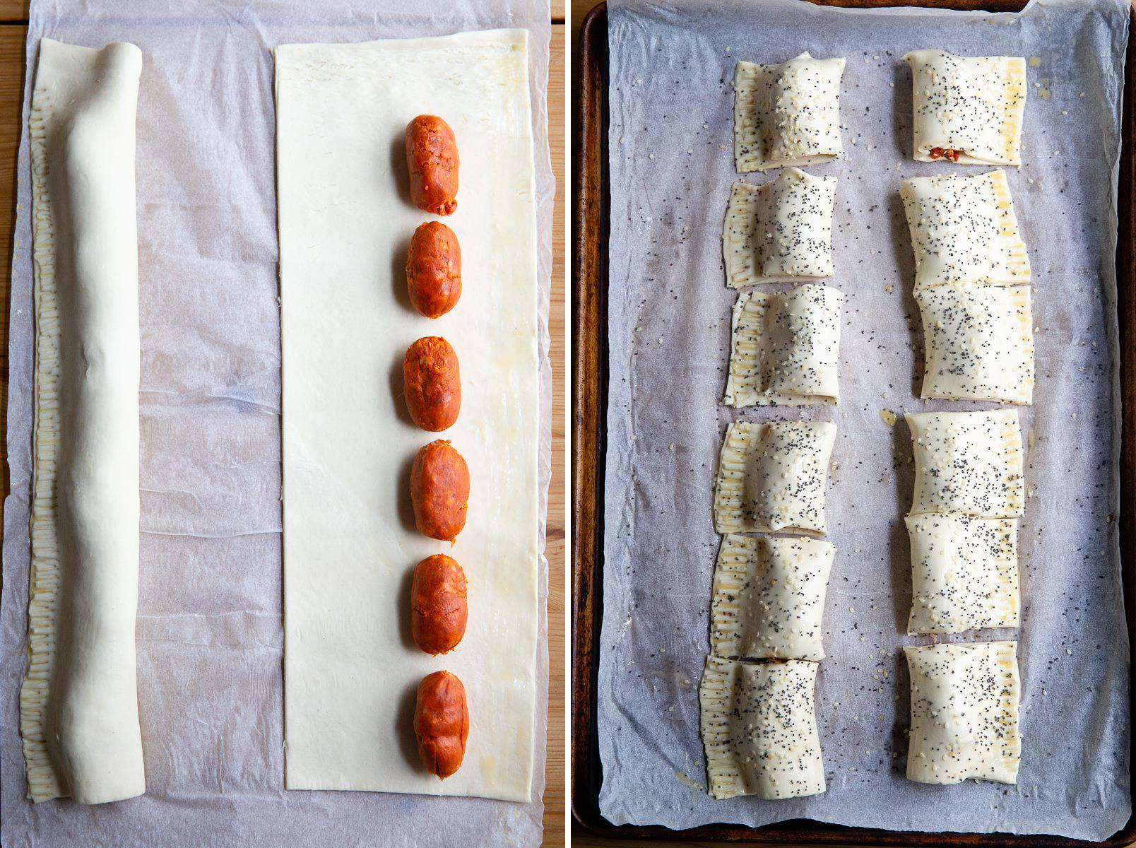 Chorizo Sausage Rolls process images