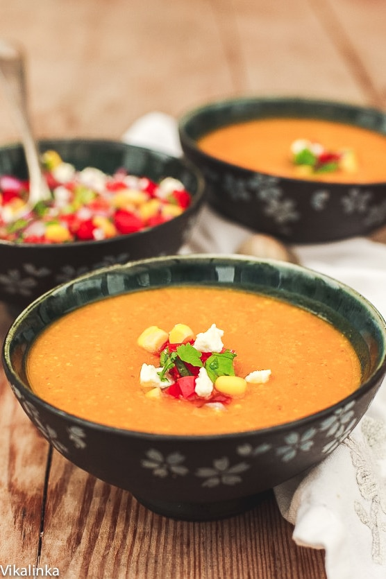 Butternut Squash and Corn Soup with Tomato Salsa