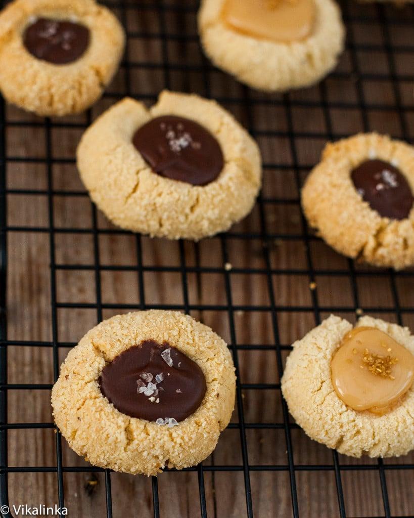 Almond Thumbprint Cookies with Chocolate and Sea Salt