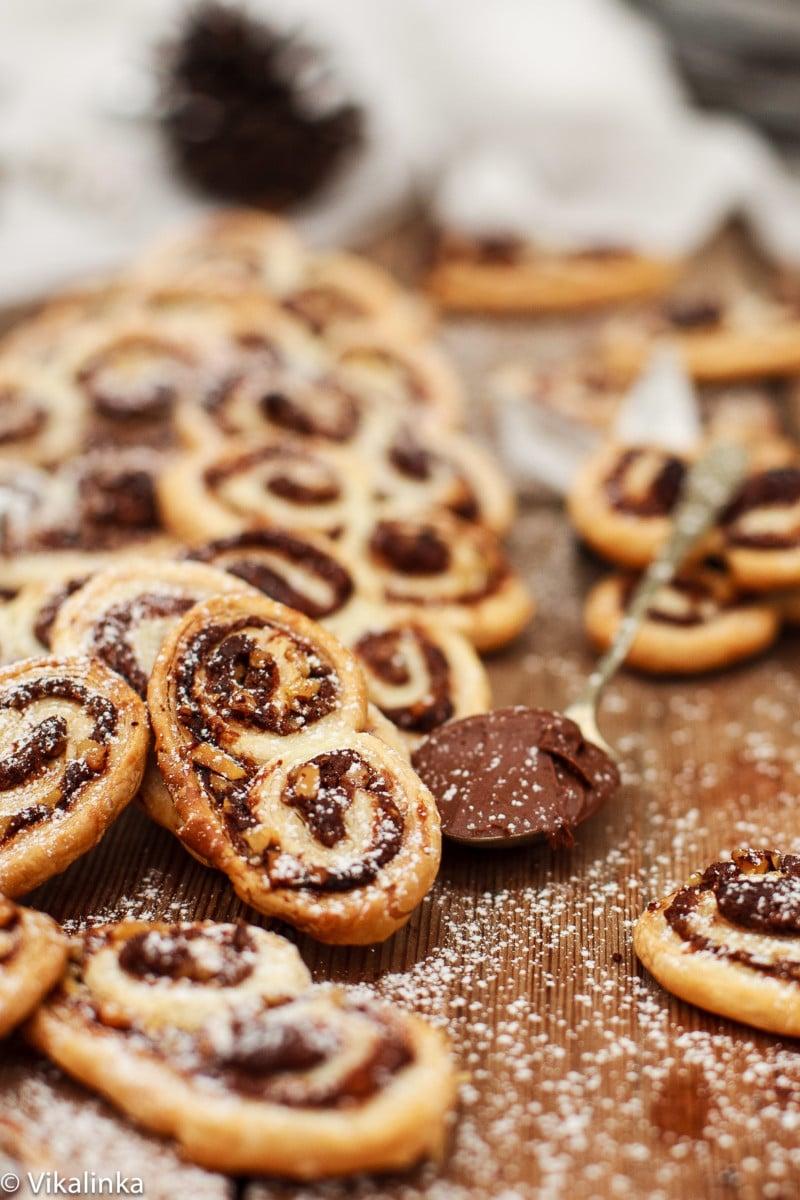 close up of Nutella Hazelnut Palmiers