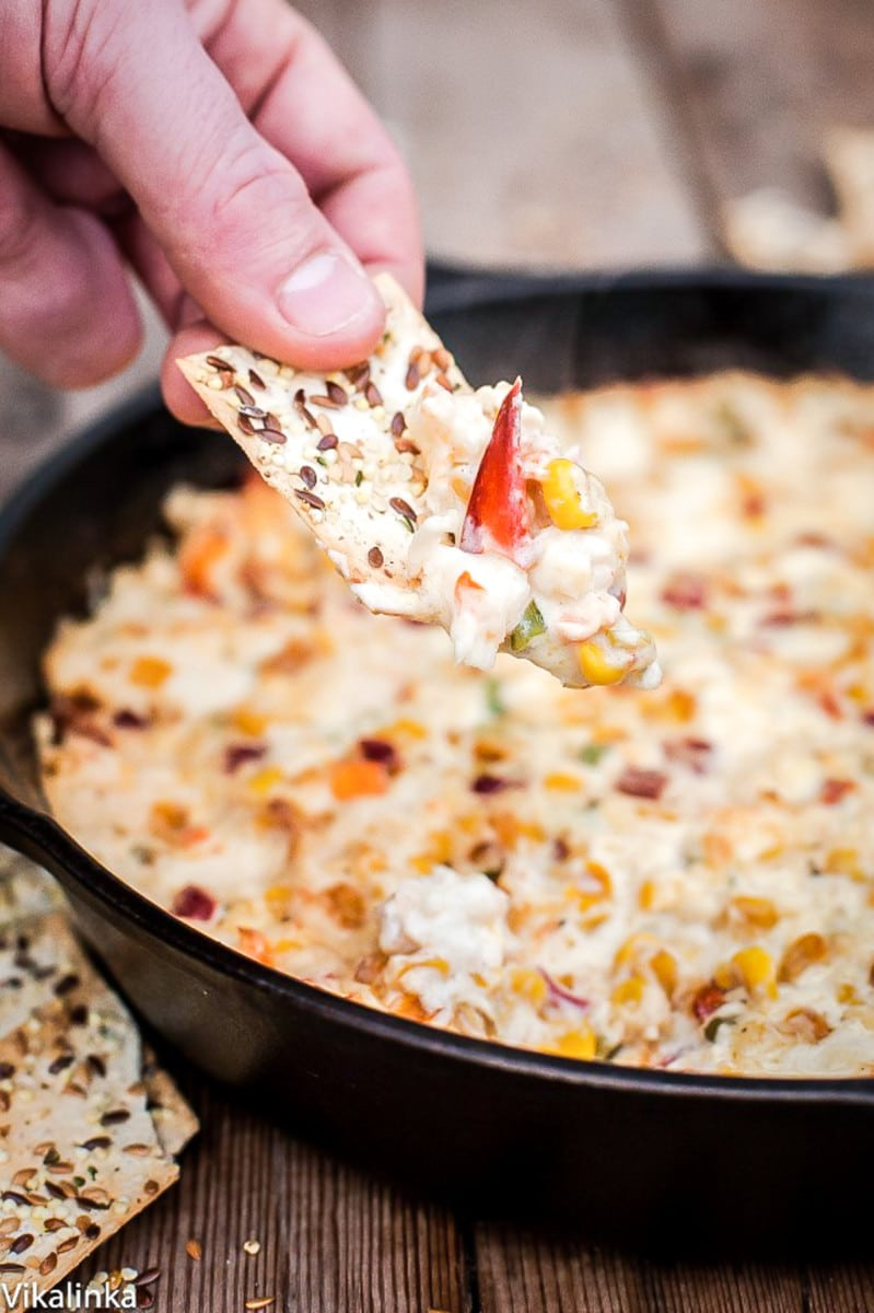 This hot and cheesy dip full of crab chunks and roasted corn will be the first to disappear. A true party pleaser!