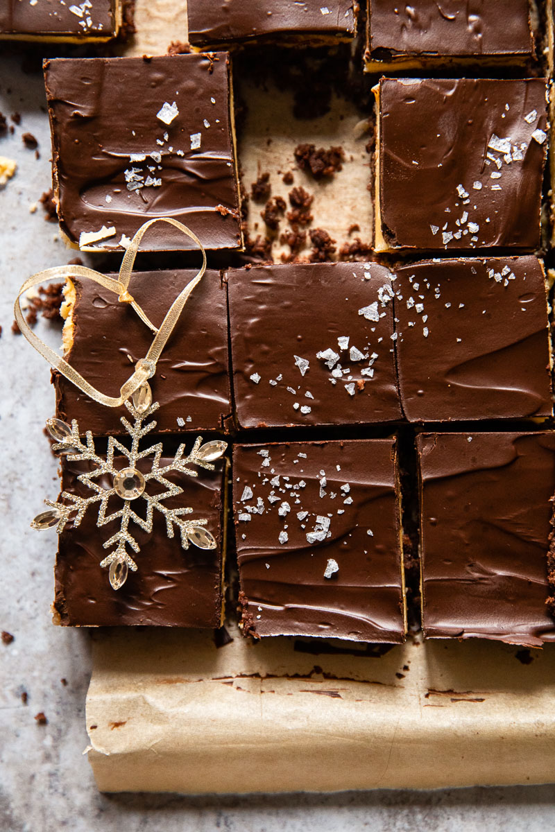chocolate covered bars and a star ornament on top of them