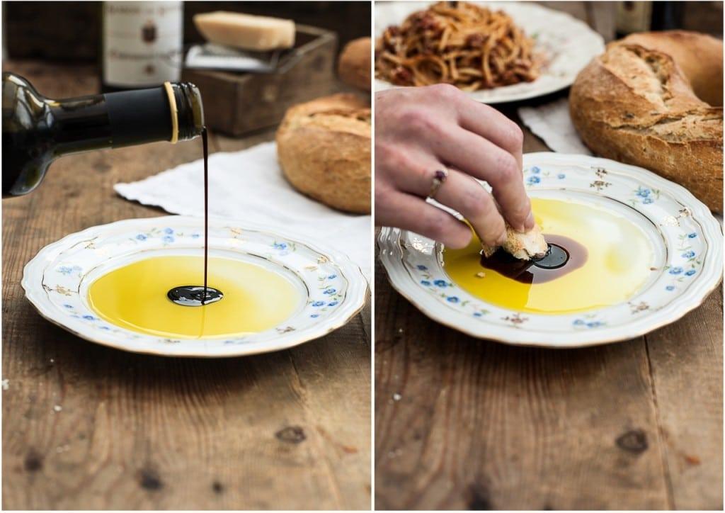 Spaghetti Bolognese/Olive Oil Balsamic Vinegar dip