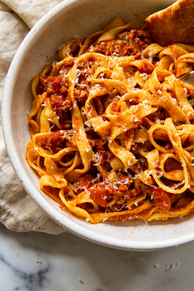 Tagliatelle with Bolognese sauce in bowl