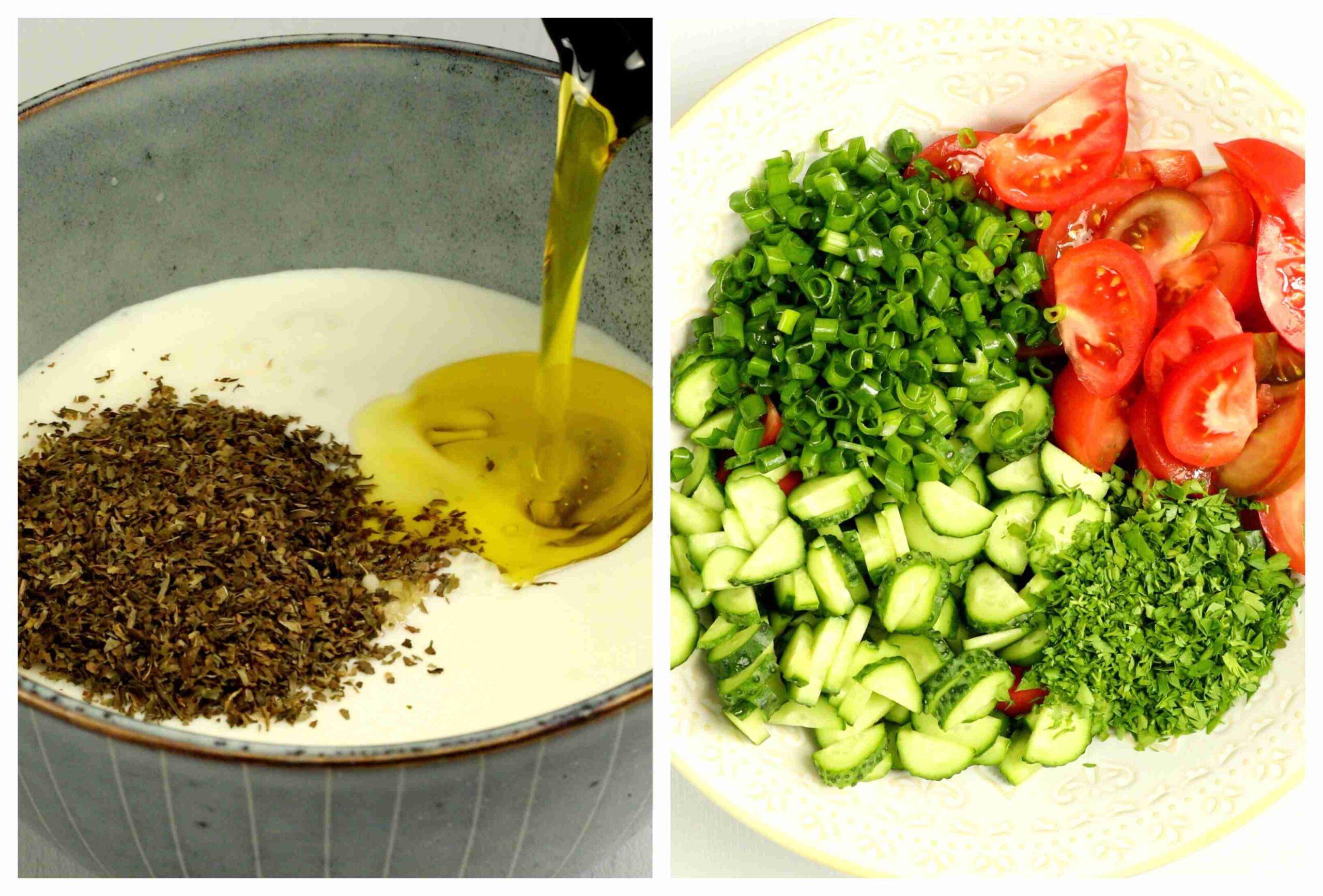 Fattoush salad cooking process images