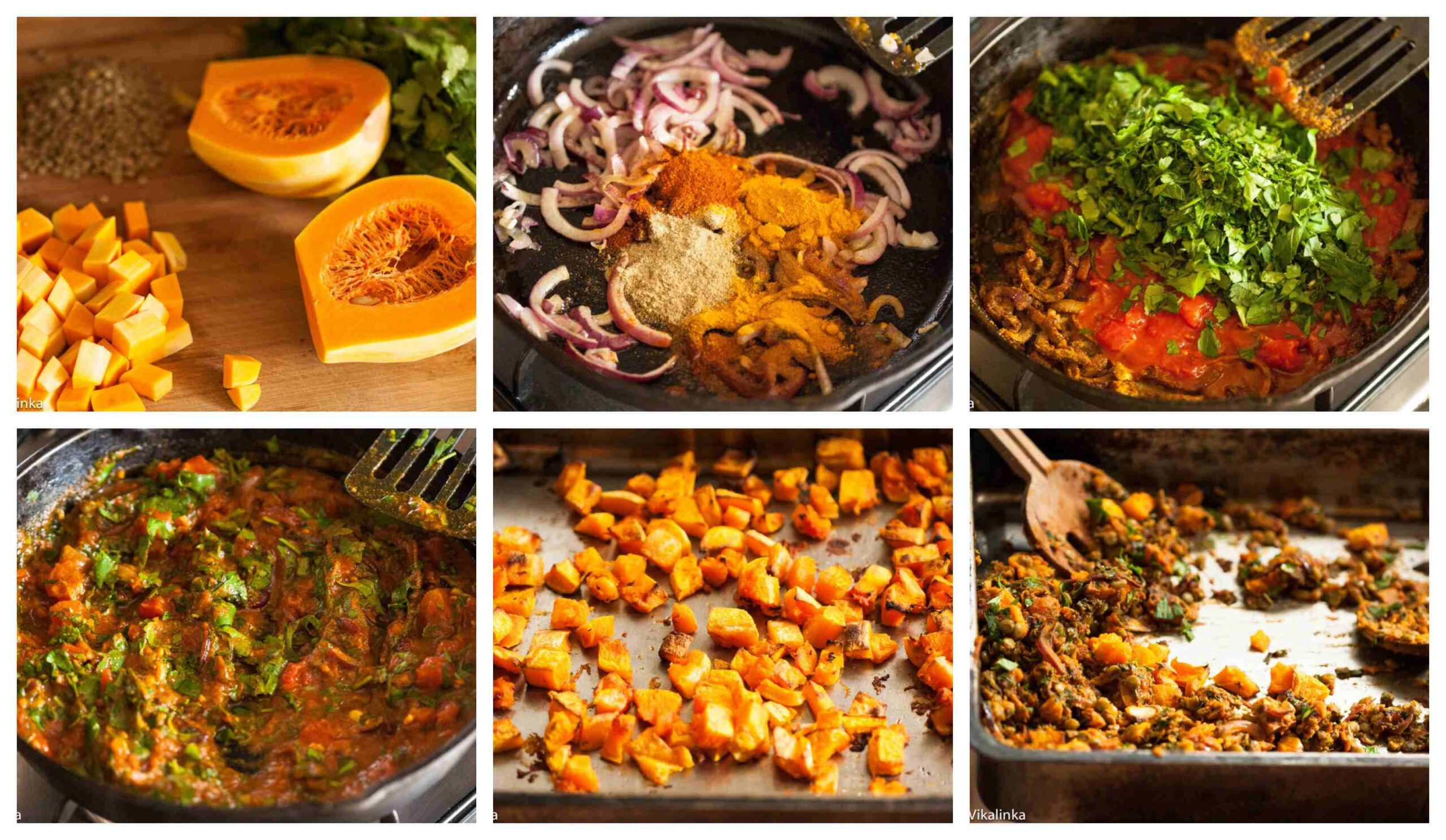 Butternut squash and lentils recipe step by step process images