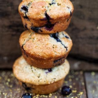 blueberry muffins stacked