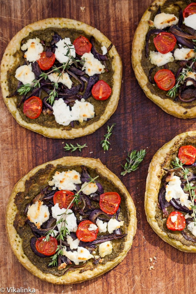 Pesto, Caramelized Onions and Boursin Tarts