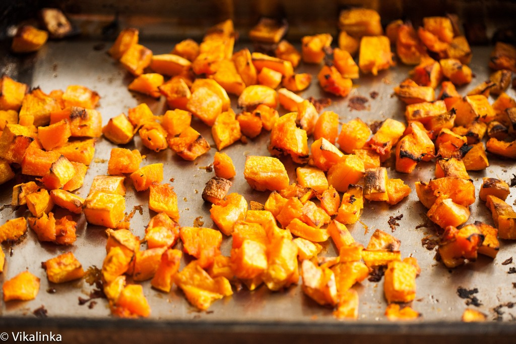 Roasted Butternut Squash with spiced lentils, feta and pine nuts (prep)