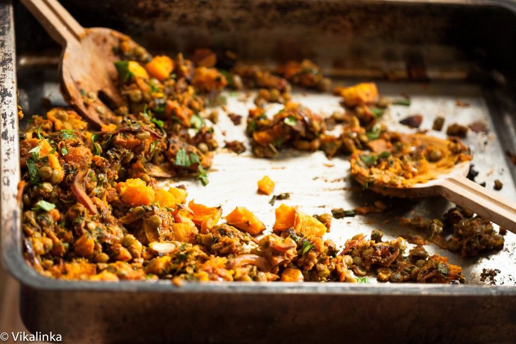 Roasted Butternut Squash with spiced lentils, feta and pine nuts