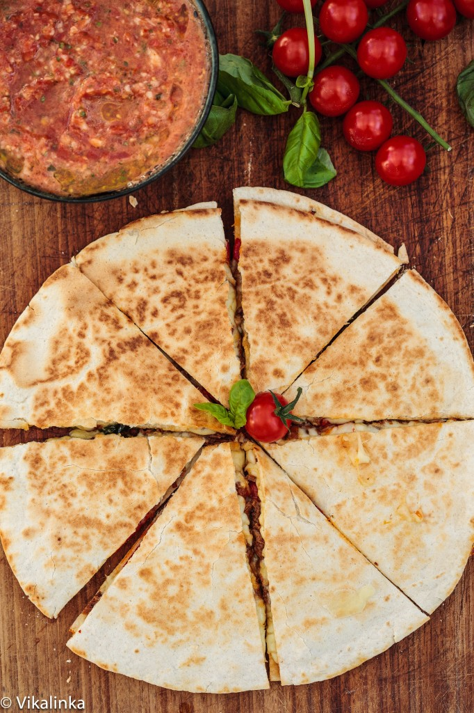 Italian Beef and Red Pepper Quesadilla with Tomato and Basil Salsa