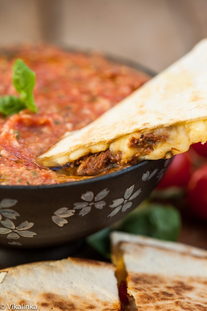 Italian Beef and Roasted Red Pepper Quesadillas with Tomato and Basil Salsa