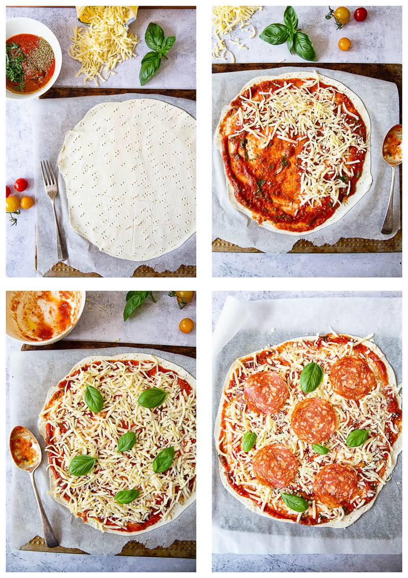 Stages of puff pastry pizza making