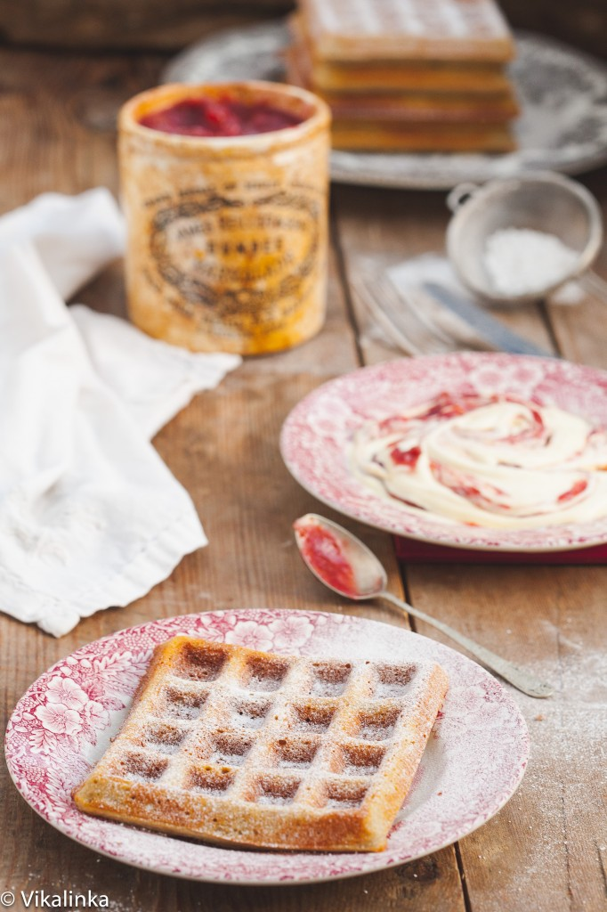 Buckwheat Waffles with Rhubarb Cream