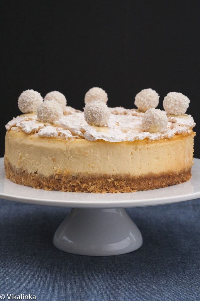 Raffaello Cheesecake- Coconut Almond Cheesecake with wafer crust and coconut meringue.