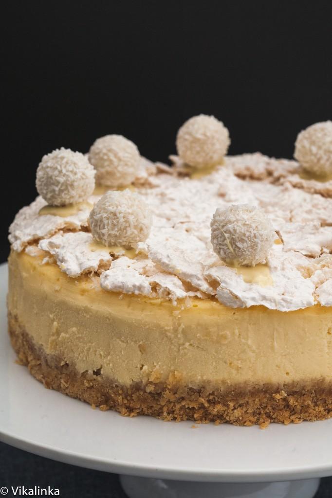 Raffaello Cheesake- coconut and almond cheesecake with delicately crunchy coconut meringue.