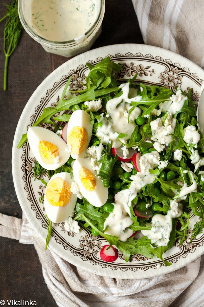 Spring Pea and Arugula Salad with Creamy Dill Dressing