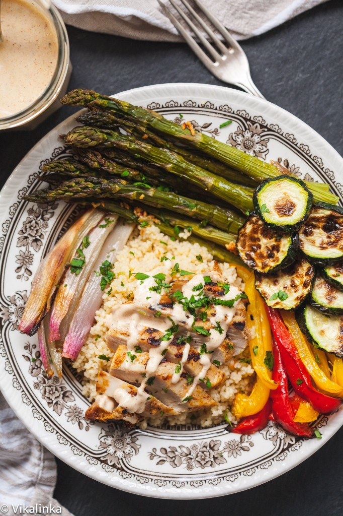Roasted Vegetable and Couscous Bowl with Moroccan Spiced Chicken
