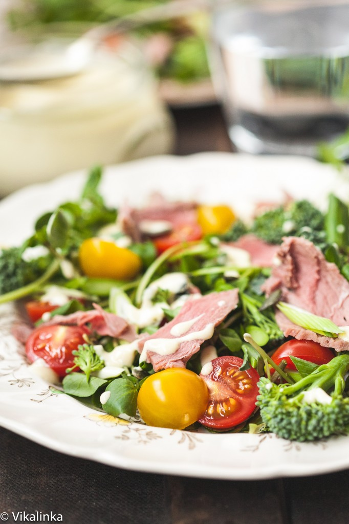 Watercress and Roast Beef Salad with Creamy Horseradish Dressing