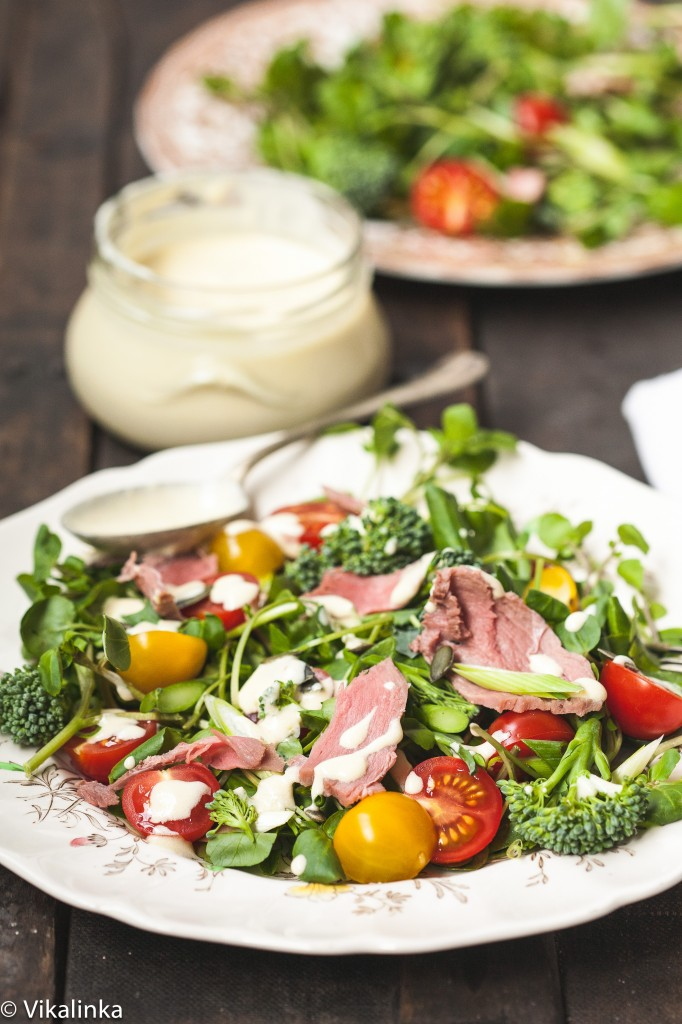 Watercress and Roast Beef Salad with Horseradish Dressing