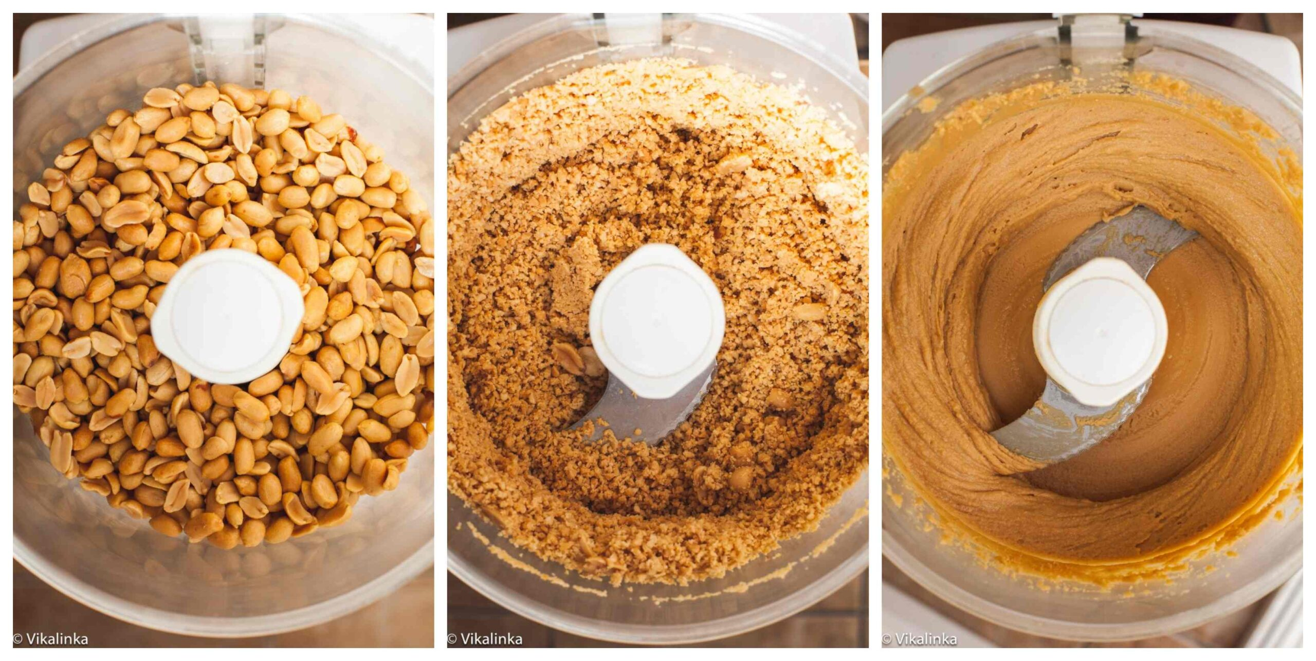 3 stages of making homemade peanut butter