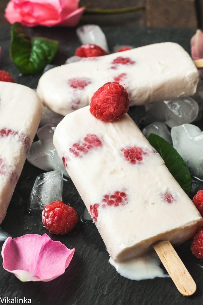Rose water raspberry yogurt pops